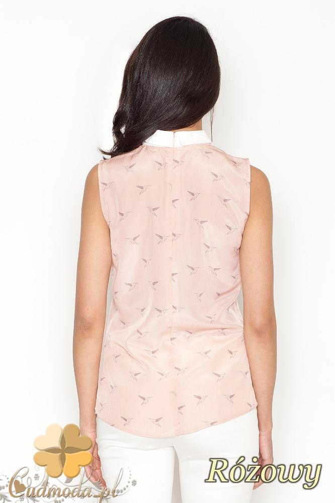 CM1623 Bluzka na szerokich ramiączkach z kołnierzykiem - różowa