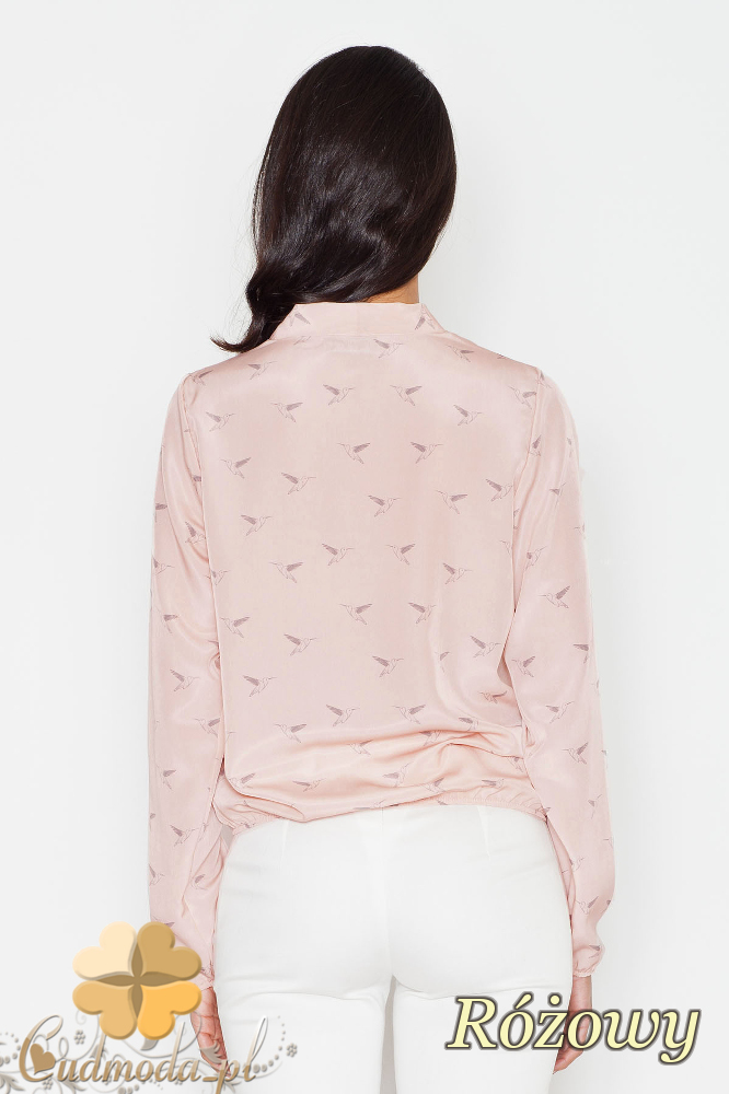CM1624 Kopertowa bluzka z zakładką - różowa