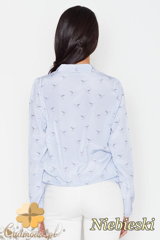 CM1624 Kopertowa bluzka z zakładką - niebieska