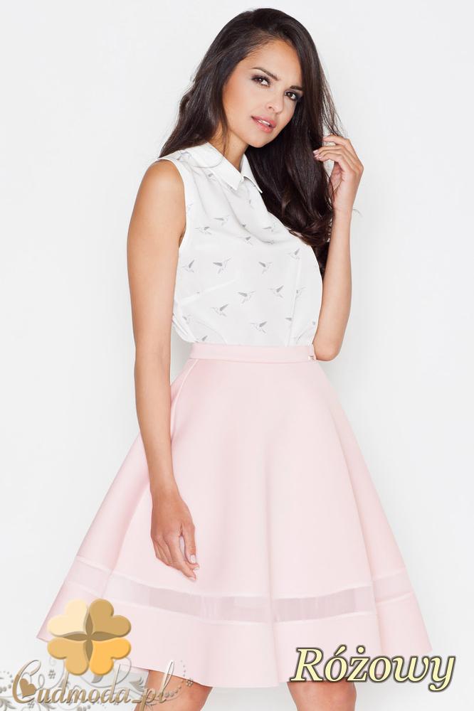 CM1625 Elegancka rozkloszowana spódniczka - różowa