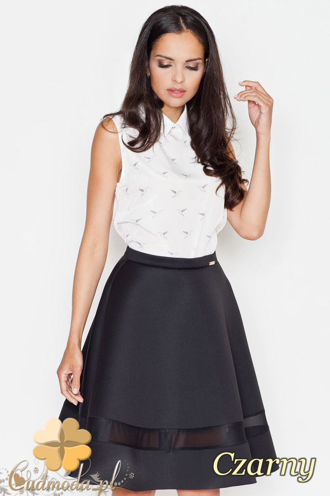 CM1625 Elegancka rozkloszowana spódniczka - czarna