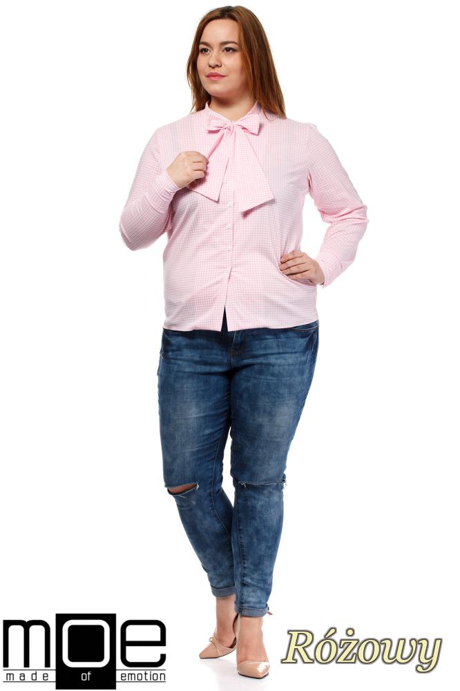 CM1642 Klasyczna koszula damska z długim rękawem - różowa