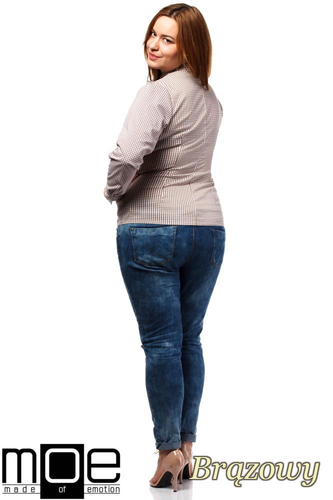 CM1642 Klasyczna koszula damska z długim rękawem - brązowa
