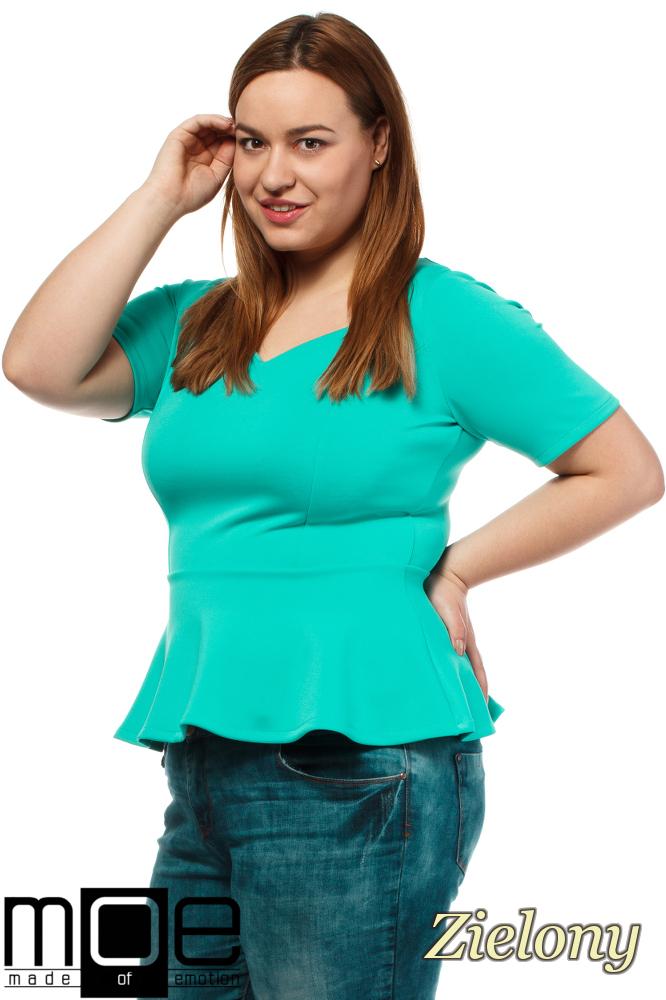 CM1643 Piankowa bluzka damska baskinka - zielona