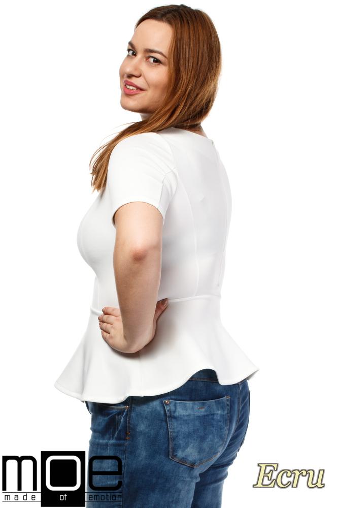 CM1643 Piankowa bluzka damska baskinka - ecru