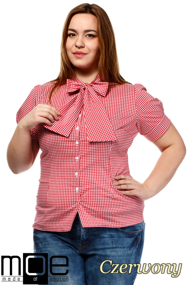 CM1644 Damska koszula w kratę z krótkim rękawem - czerwona