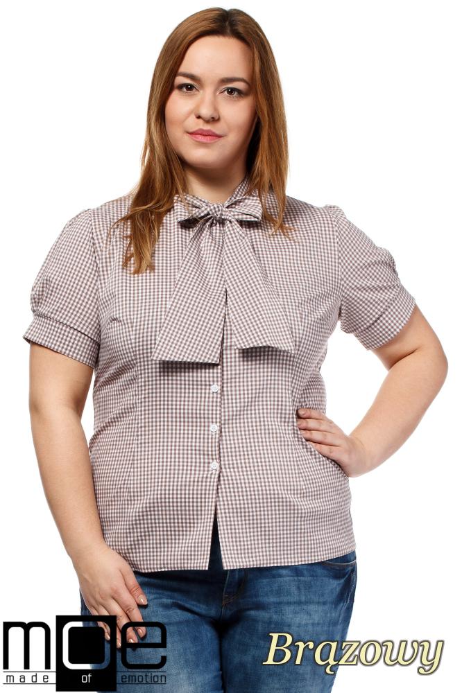 CM1644 Damska koszula w kratę z krótkim rękawem - brązowa