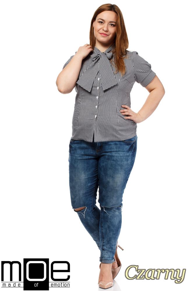 CM1644 Damska koszula w kratę z krótkim rękawem - czarna