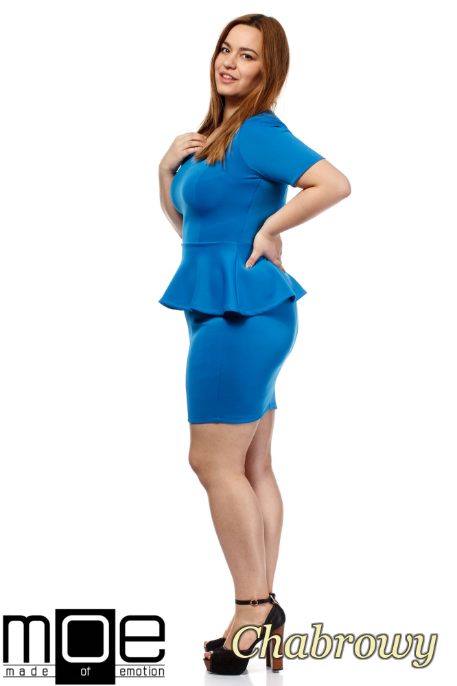 CM1658 Elegancka kobieca sukienka baskinka - chabrowa