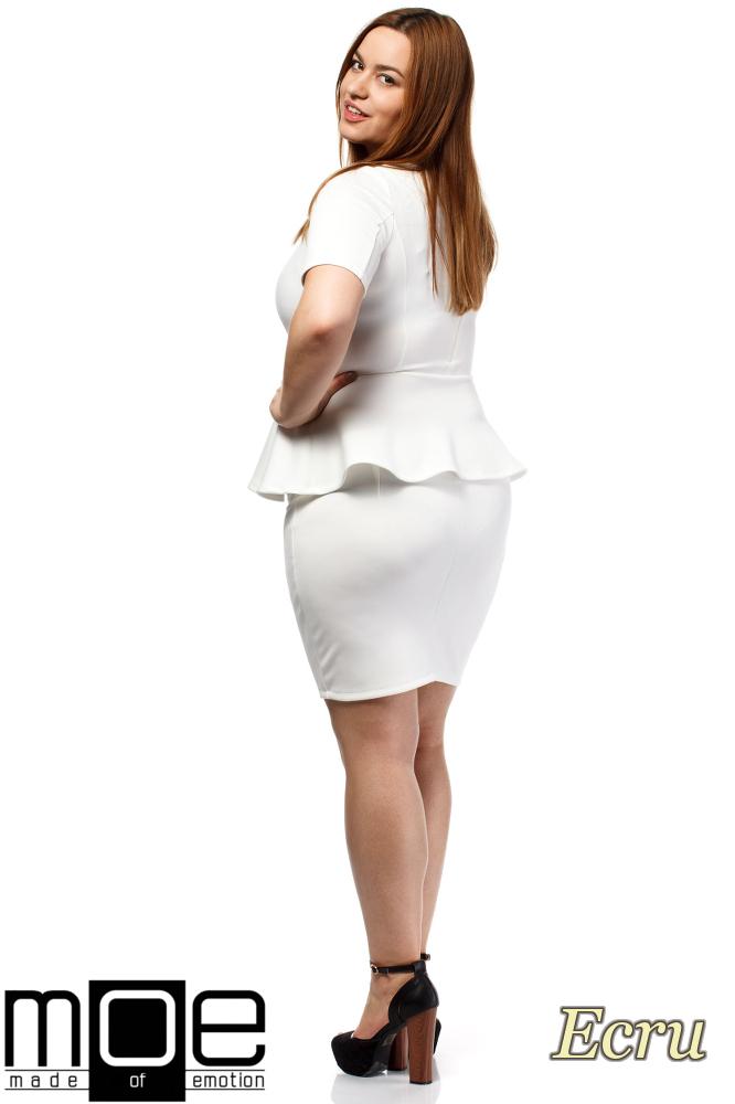 CM1658 Elegancka kobieca sukienka baskinka - ecru