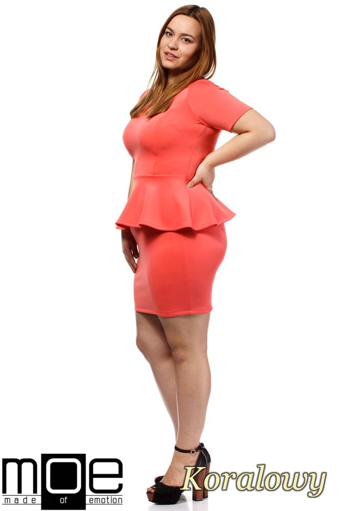 CM1658 Elegancka kobieca sukienka baskinka - koralowa