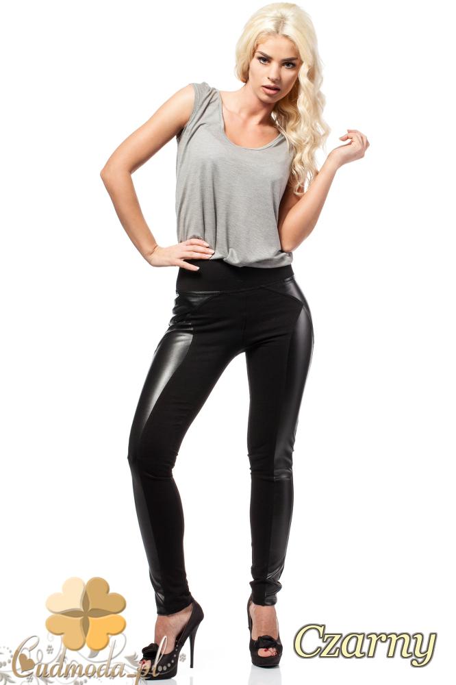 CM0188 Włoskie legginsy z wysokim stanem i skórzanymi wstawkami - czarne