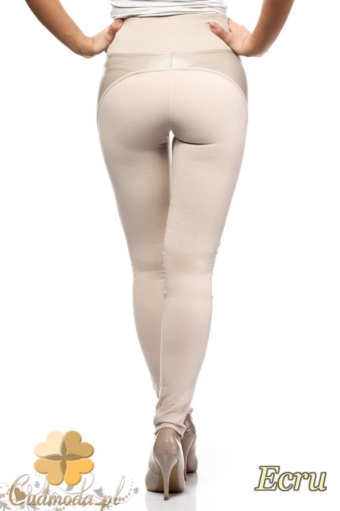 CM0188 Włoskie legginsy z wysokim stanem i skórzanymi wstawkami - ecru