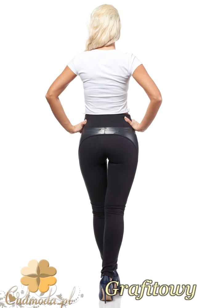CM0188 Włoskie legginsy z wysokim stanem i skórzanymi wstawkami - grafitowe