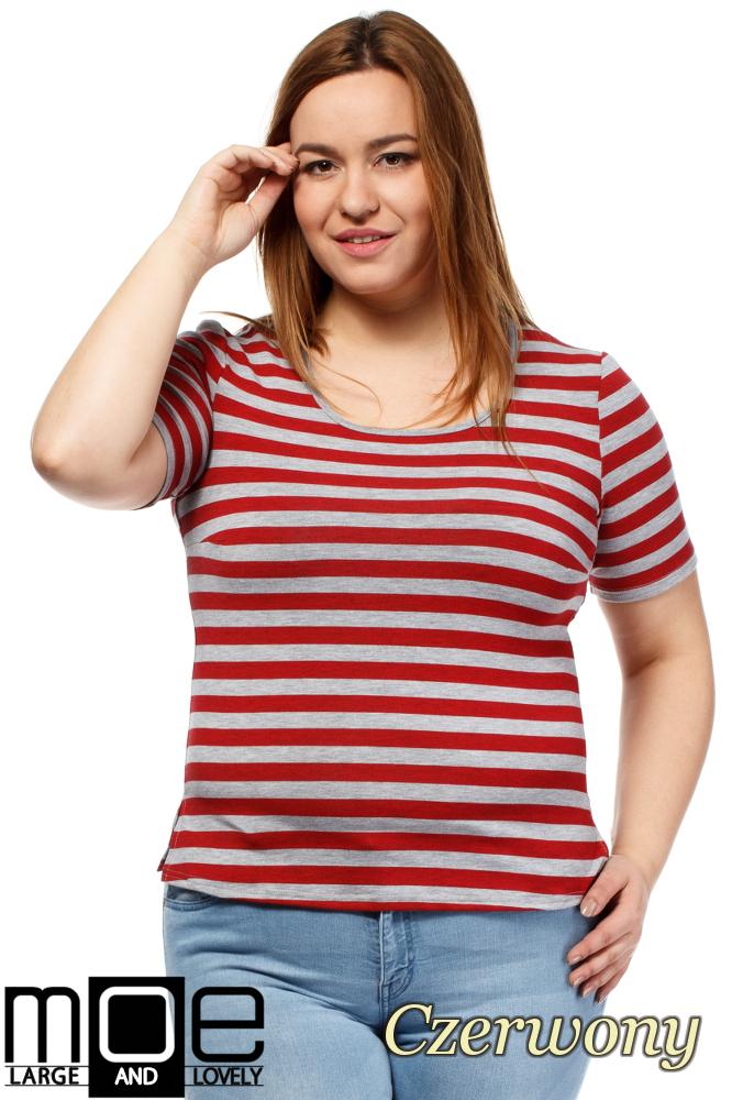 CM1646 Modna damska bluzka z krótkim rękawem - czerwona