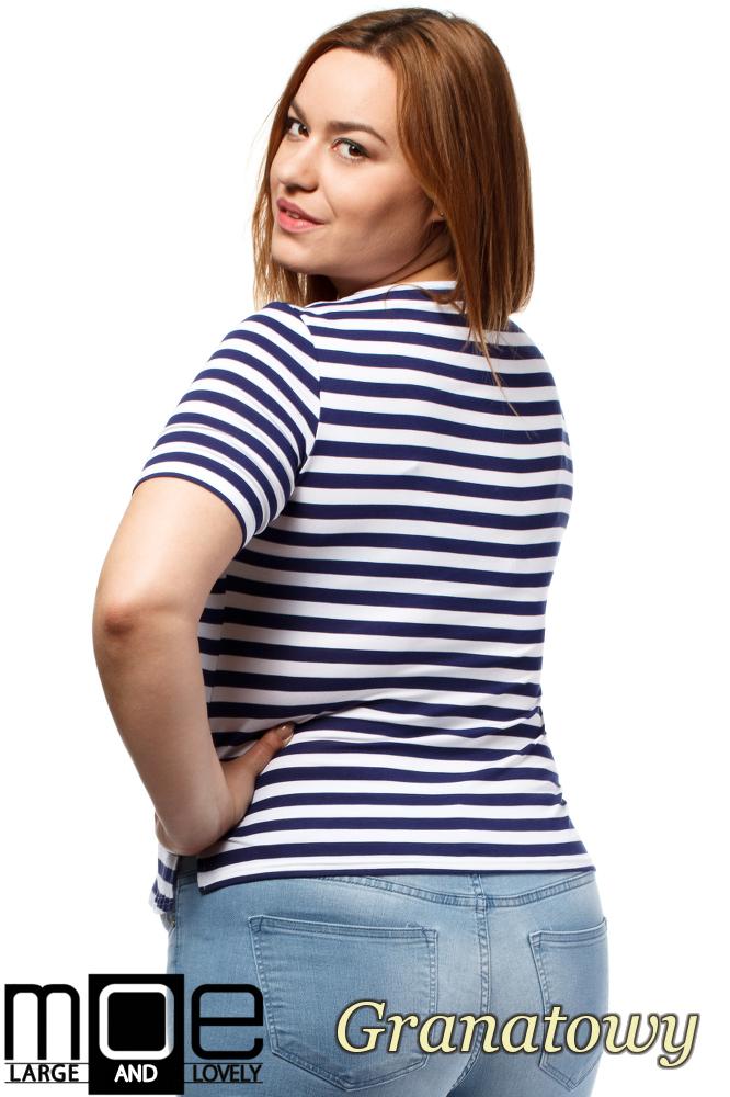 CM1646 Modna damska bluzka z krótkim rękawem - granatowa