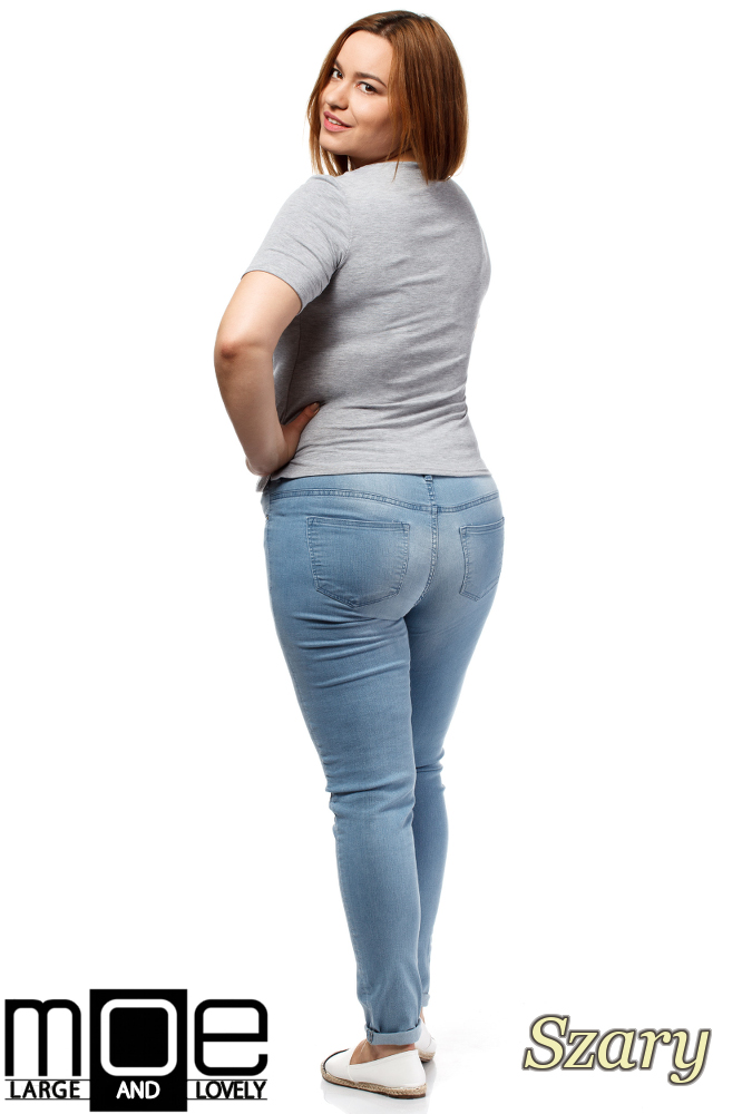 CM1646 Modna damska bluzka z krótkim rękawem - szara