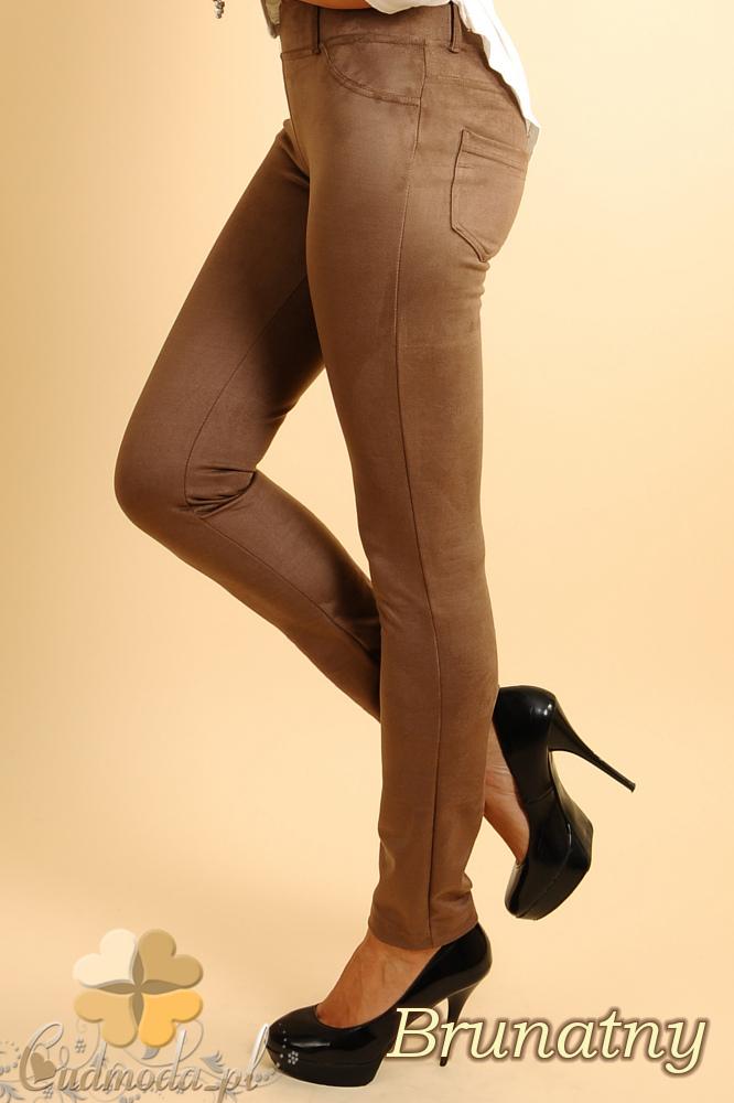CM0133 Włoskie spodnie rurki  legginsy z zamszu - brunatne