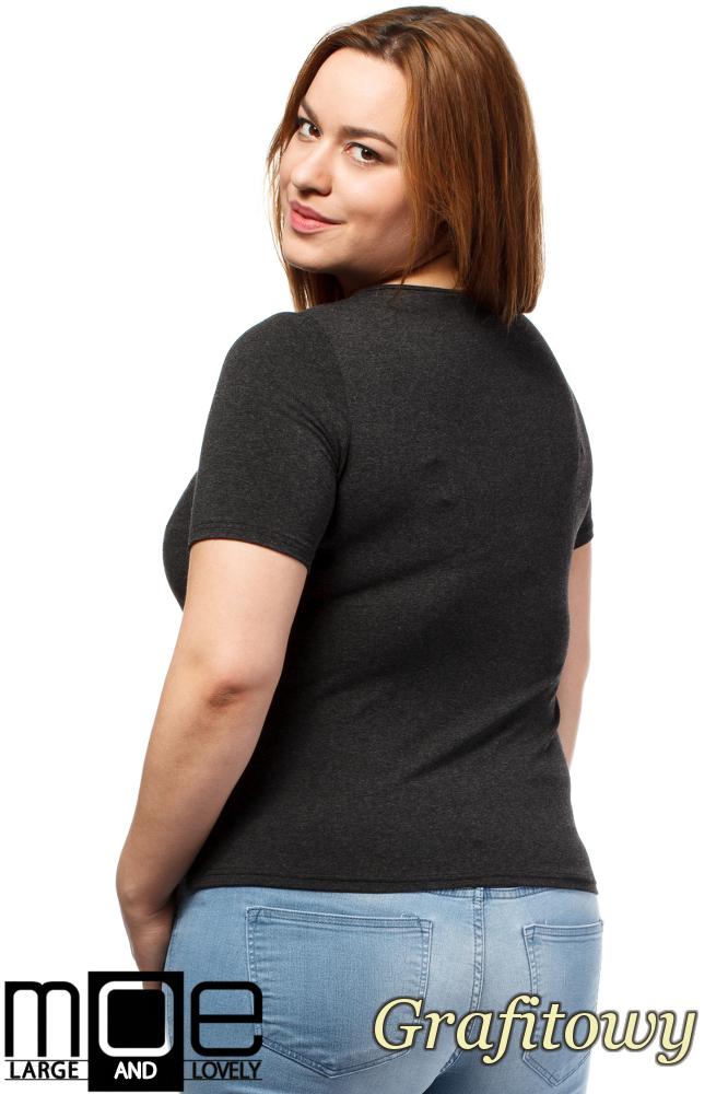 CM1646 Modna damska bluzka z krótkim rękawem - grafitowa