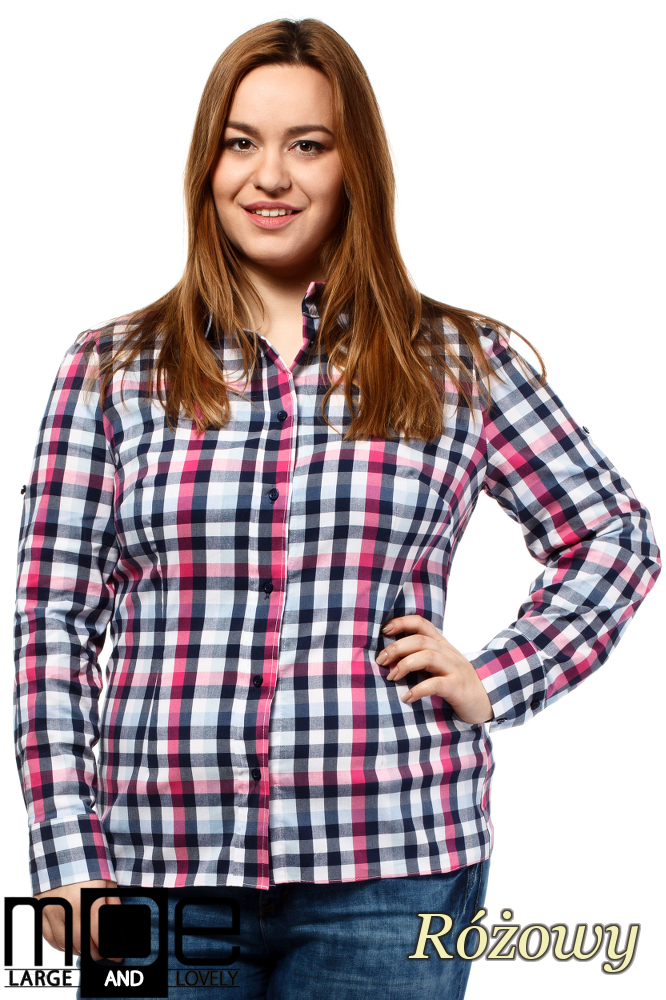 CM1647 Koszula w kratę z długim rękawem - różowa