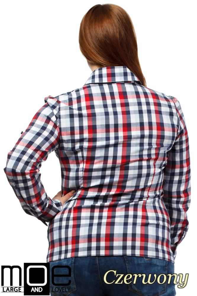 CM1647 Koszula w kratę z długim rękawem - czerwona
