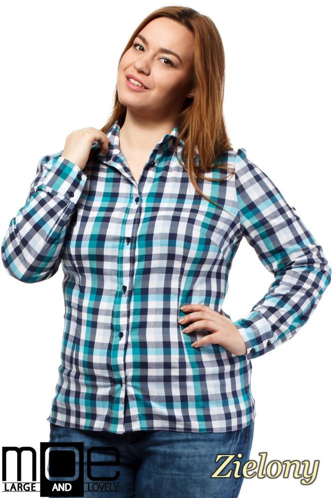 CM1647 Koszula w kratę z długim rękawem - zielona