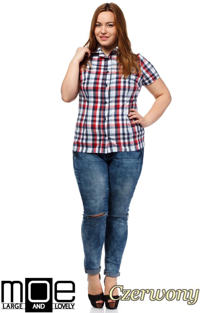 CM1651 Elegancka koszula w kratkę z krótkim rękawem - czerwona