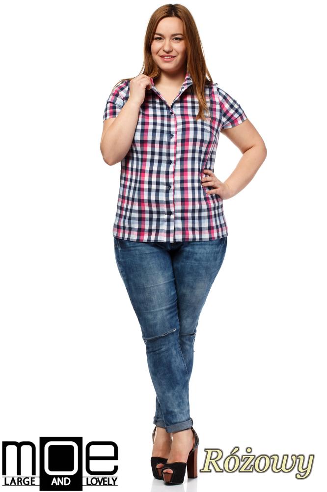 CM1651 Elegancka koszula w kratkę z krótkim rękawem - różowa