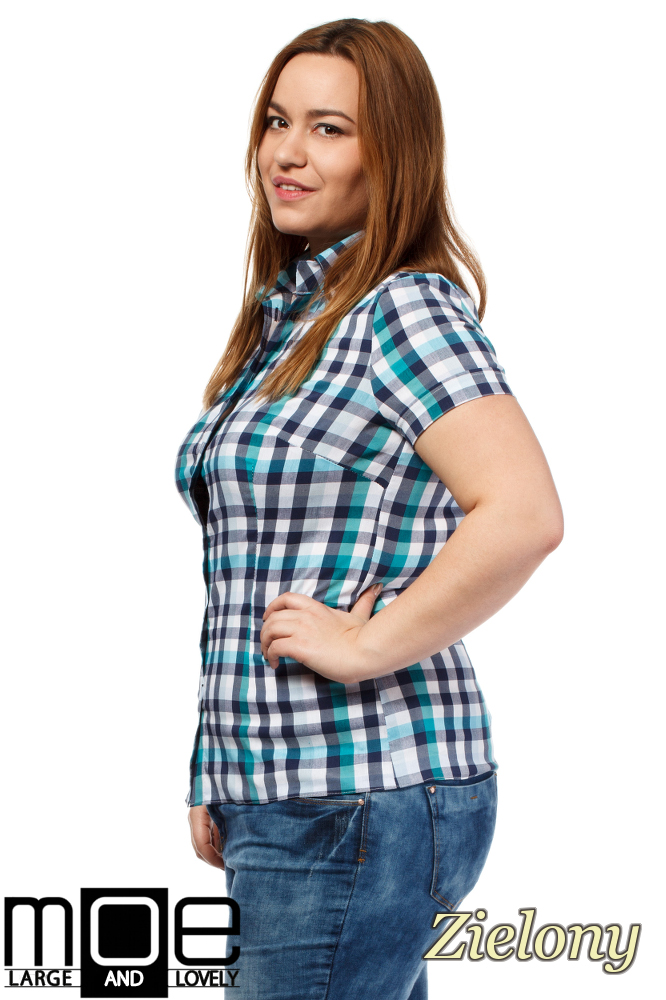 CM1651 Elegancka koszula w kratkę z krótkim rękawem - zielona