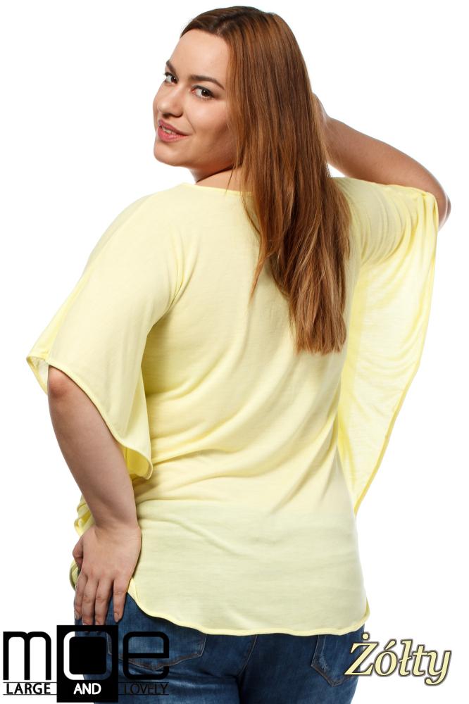 CM1649 Zwiewna bluzka damska z krótkim rękawem - żółta
