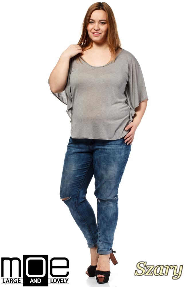 CM1649 Zwiewna bluzka damska z krótkim rękawem - szara