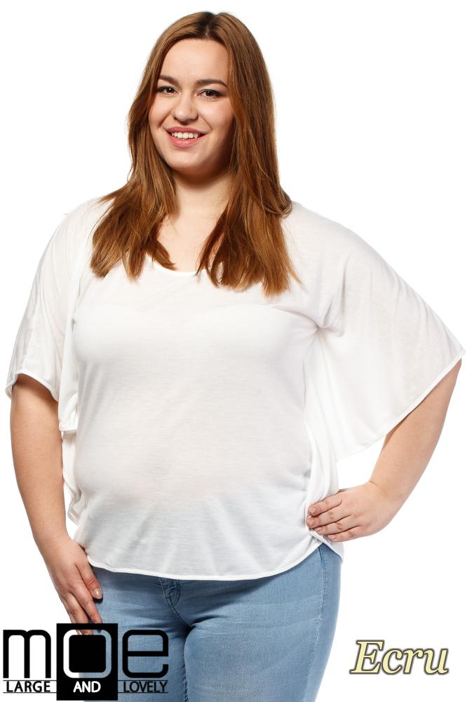 CM1649 Zwiewna bluzka damska z krótkim rękawem - ecru