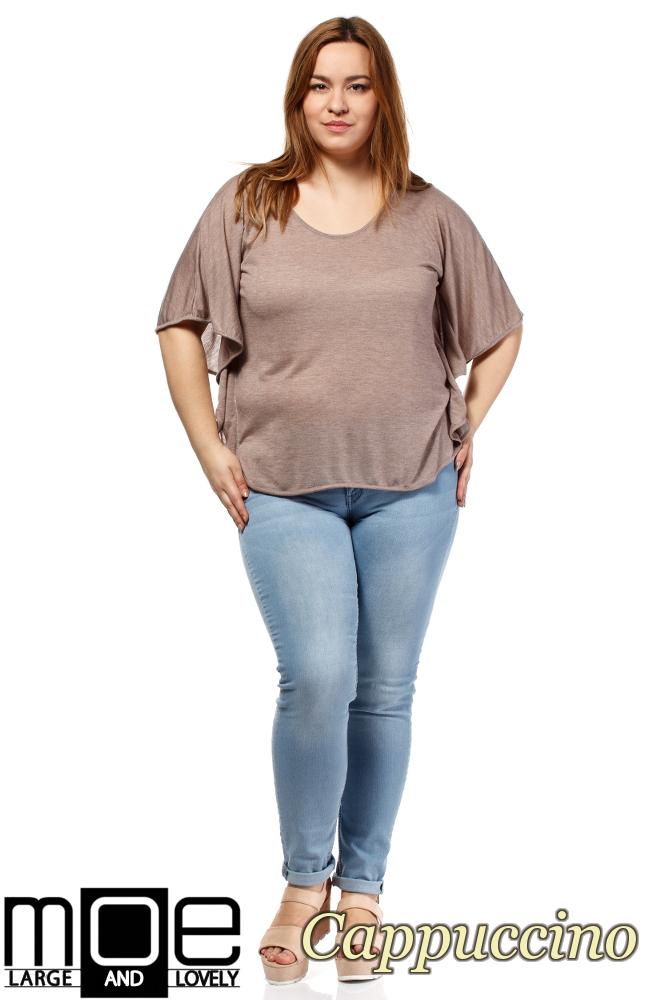 CM1649 Zwiewna bluzka damska z krótkim rękawem - cappuccino