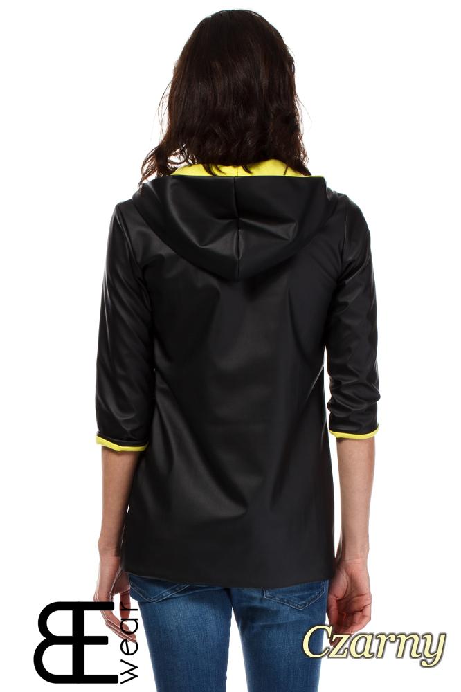 CM1630 Skórzana kurtka zasuwana na zamek - czarna
