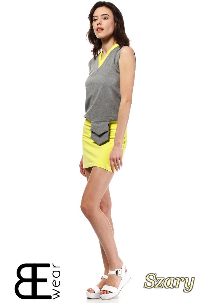 CM1633 Dwukolorowa sukienka na ramiączkach z kieszonką - szara