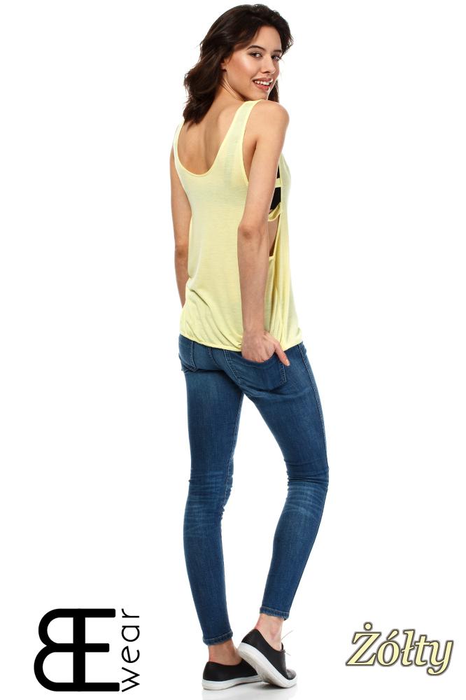 CM1636 Damska bluzka na ramiączkach - żółta