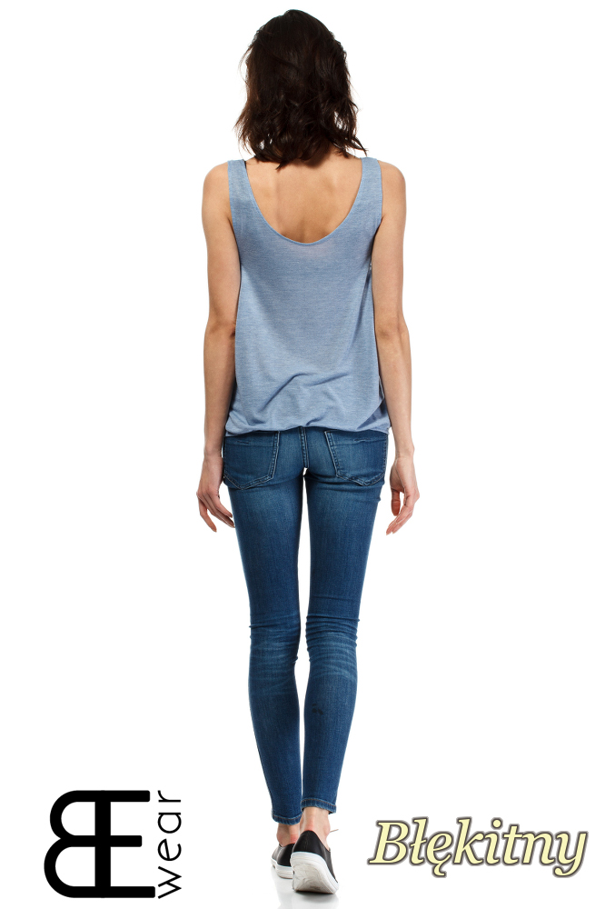 CM1636 Damska bluzka na ramiączkach - błękitna