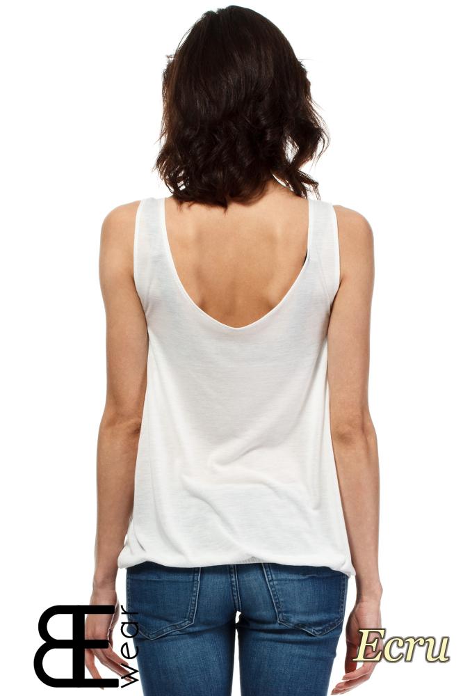 CM1636 Damska bluzka na ramiączkach - ecru
