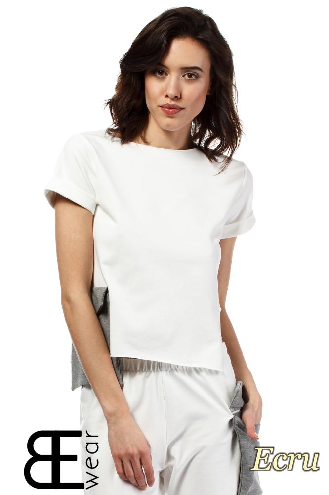 CM1639 Asymetryczna bluzka z krótkim rękawem - ecru