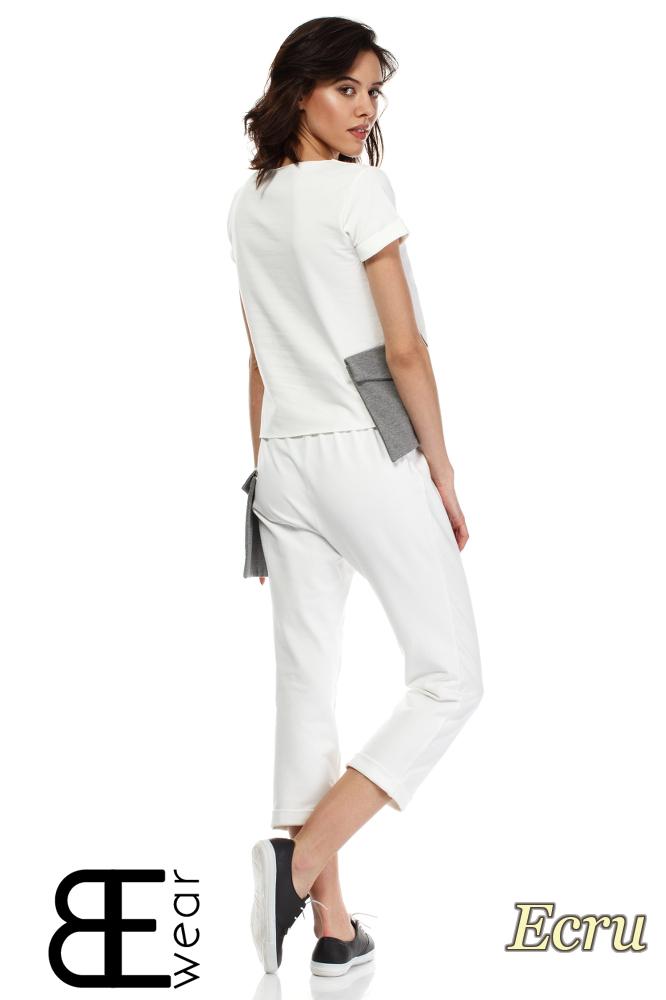 CM1640 Dresowe spodnie damskie 7/8 - ecru