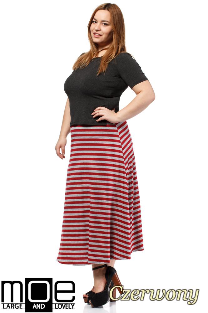 CM1654 Lekko rozkloszowana spódnica maxi - czerwona