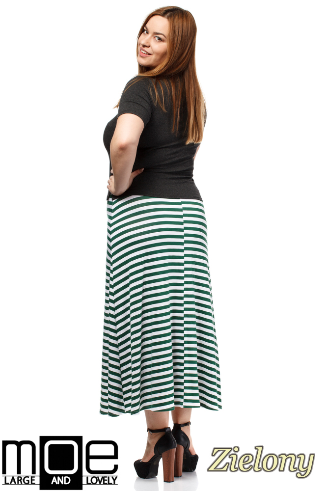 CM1654 Lekko rozkloszowana spódnica maxi - zielona