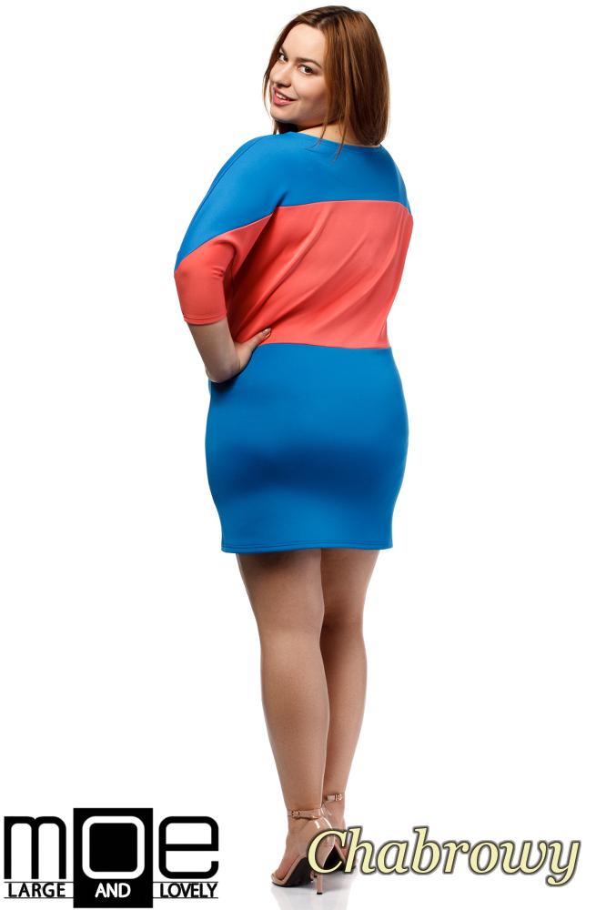 CM1657 Kontrastowa sukienka neoprenowa - chabrowa