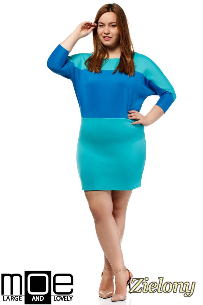CM1657 Kontrastowa sukienka neoprenowa - zielona