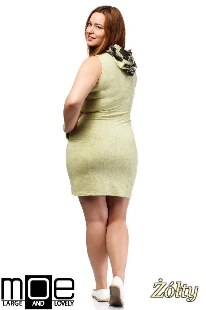 CM1652 Sukienka bez rękawów z kapturem - żółta