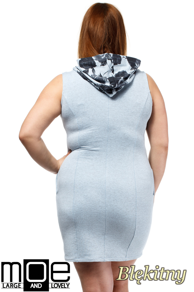 CM1652 Sukienka bez rękawów z kapturem - błękitna
