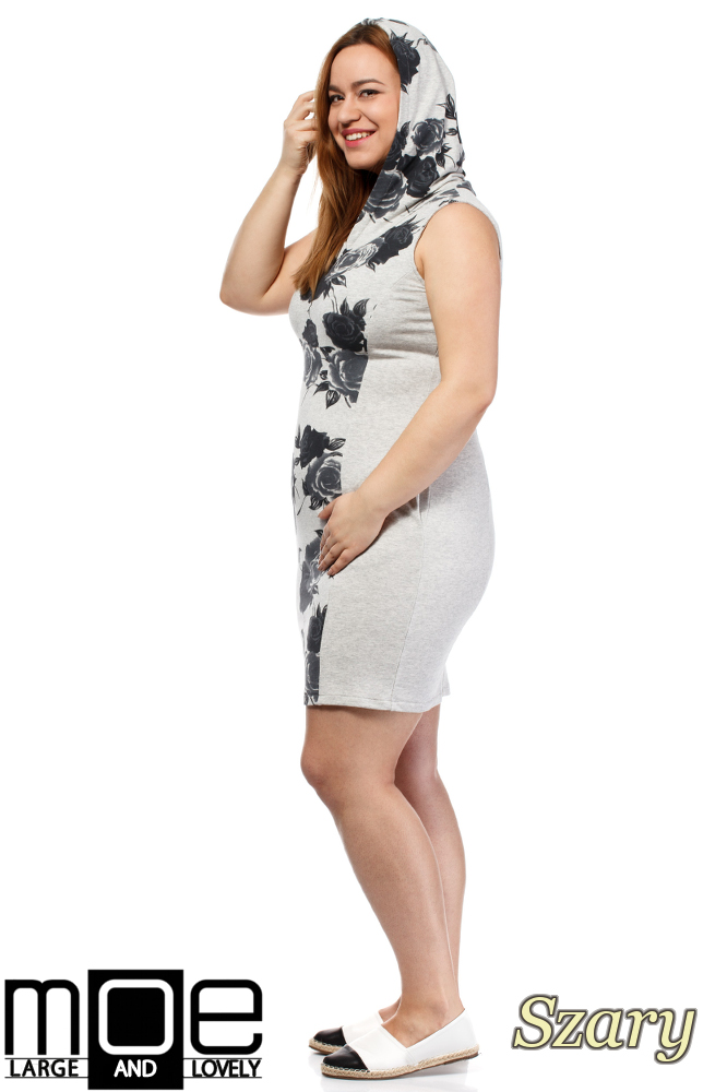 CM1652 Sukienka bez rękawów z kapturem - szara