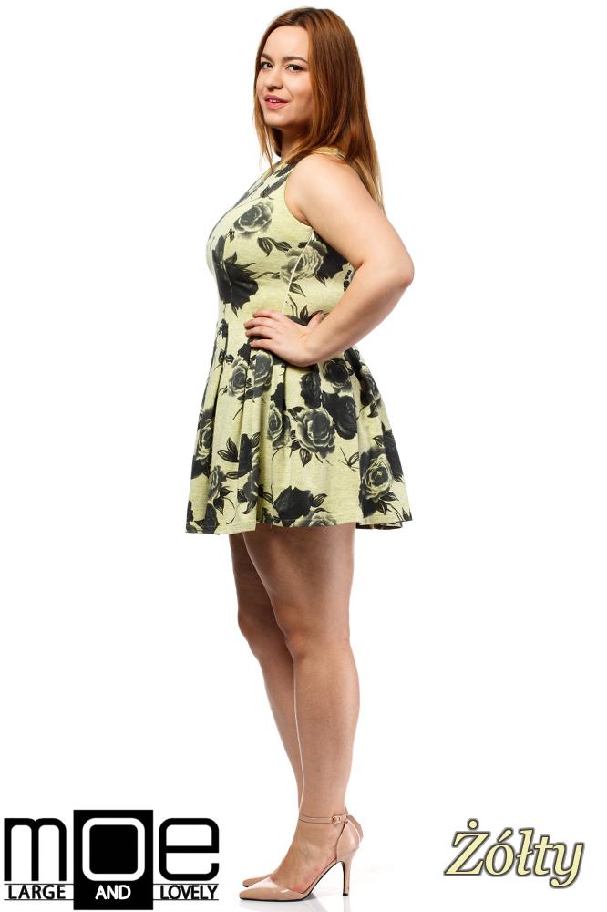 CM1650 Rozkloszowana sukienka mini bez rękawów - żółta