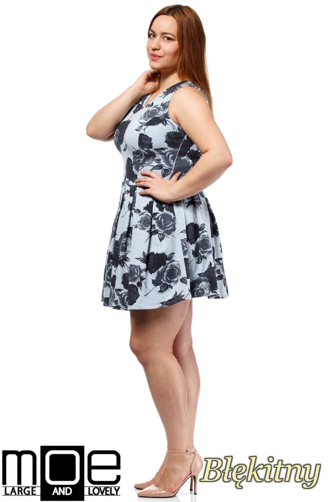 CM1650 Rozkloszowana sukienka mini bez rękawów - błękitna