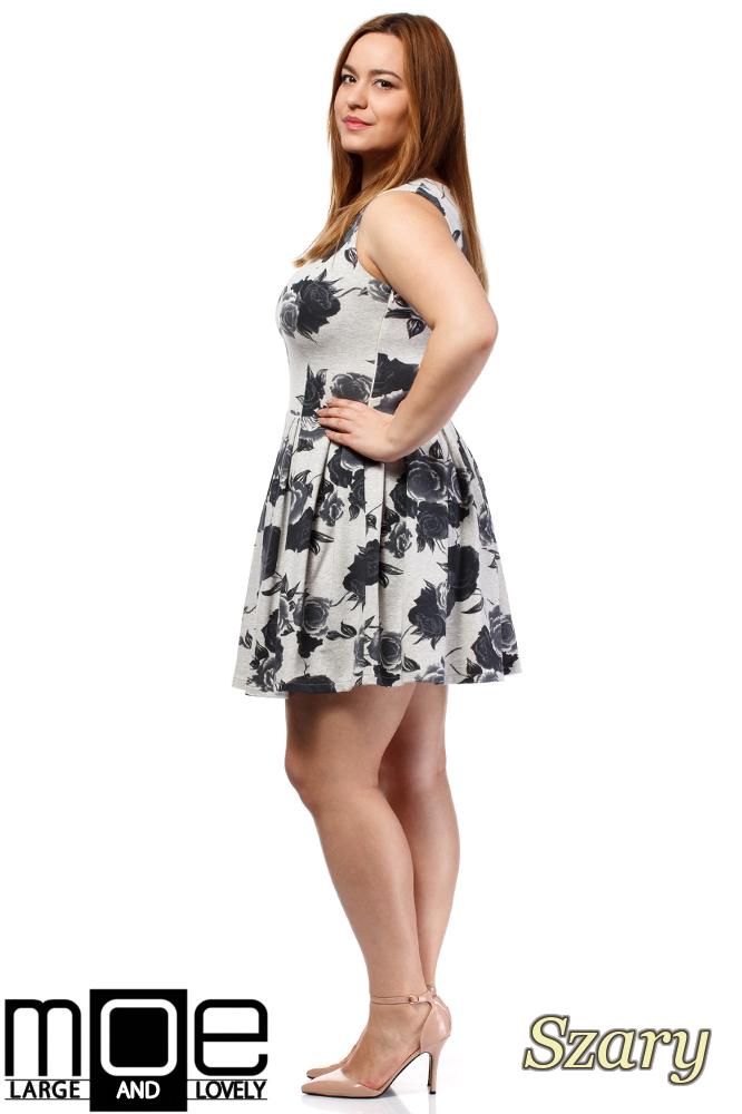 CM1650 Rozkloszowana sukienka mini bez rękawów - szara